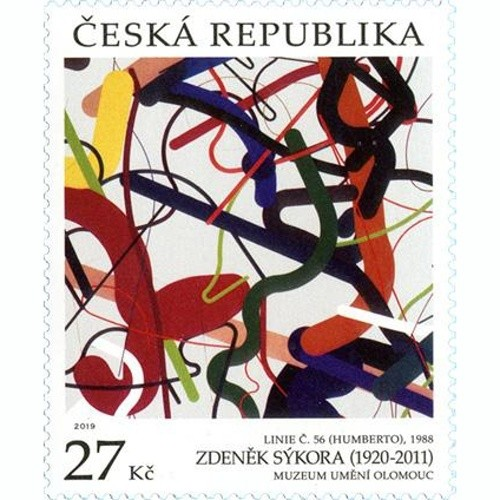 The painting from the Olomouc Museum of Art is on a postage stamp